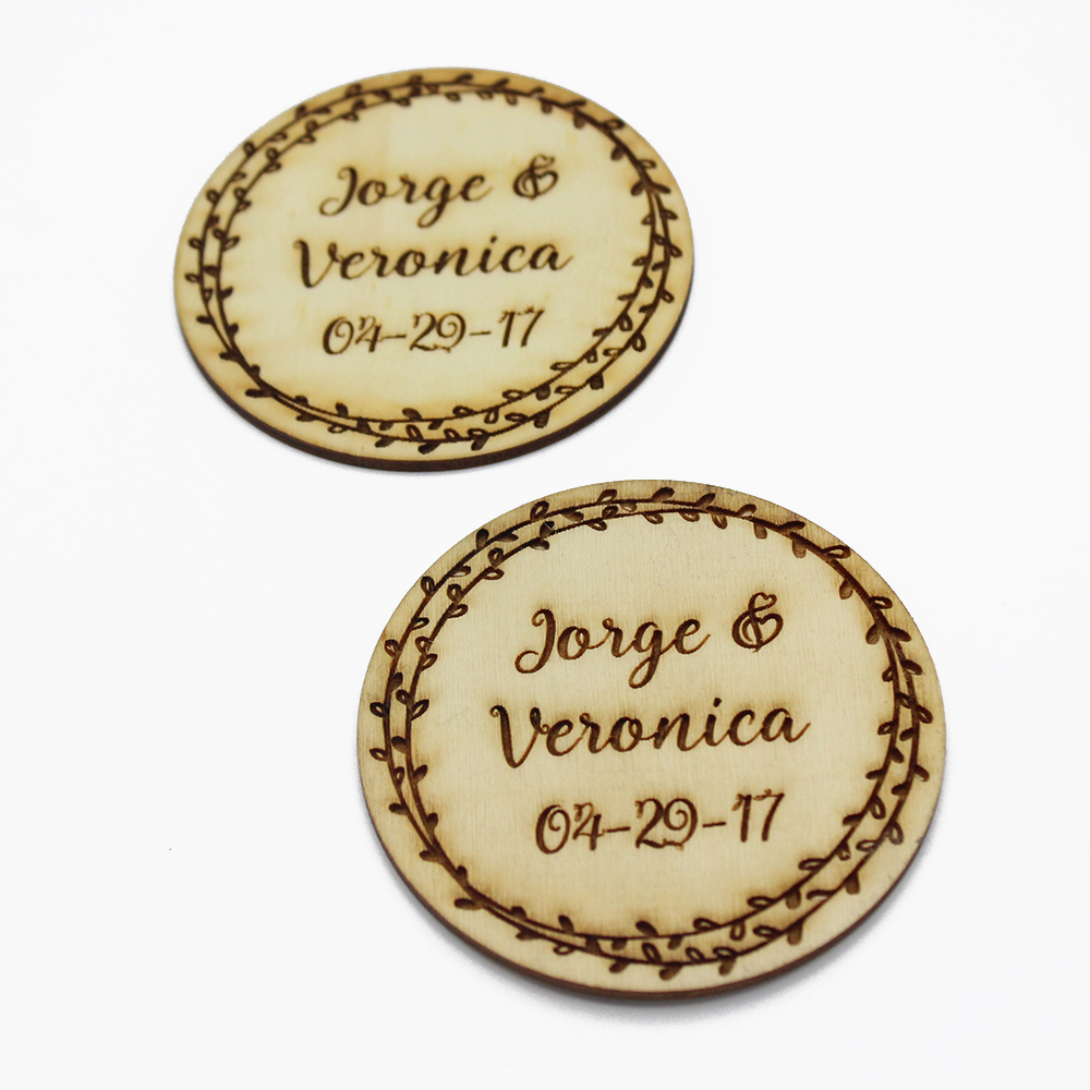 Set Of 4 Personalized Wedding Gift Coasters Wooden Coasters, Best Gifts for Couple, Drink Coaster Party Decors Favor 3.9inch