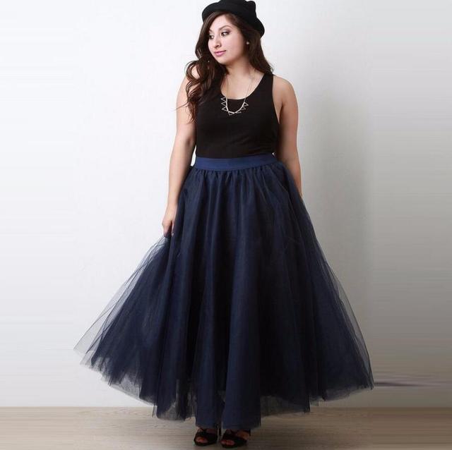12674dc08b Dark Navy Blue Tutu Skirt Nature Waistline A Line Floor Length Maxi Skirt  Fashion Casual Style Long Tulle Skirts Women