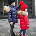 90% duck down Boys girls real raccoon fur collar quilted duck Super light down jacket outwear kids winter warm snow coat