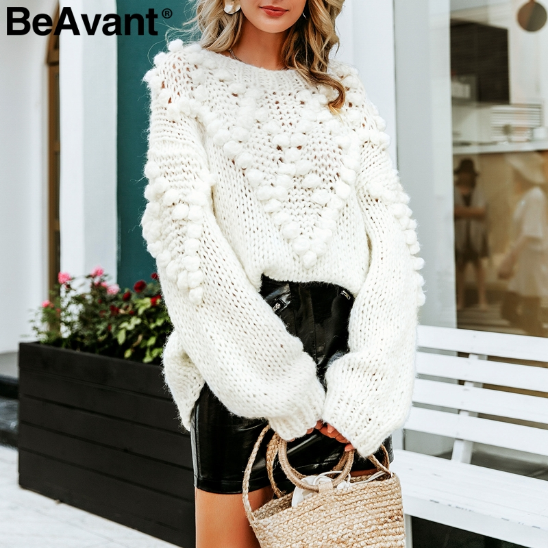 BeAvant Hand Made Pompon Knitted Sweater Women Long Sleeve Female Winter Pullover Jumper Casual O Neck Ladies Autumn Sweaters