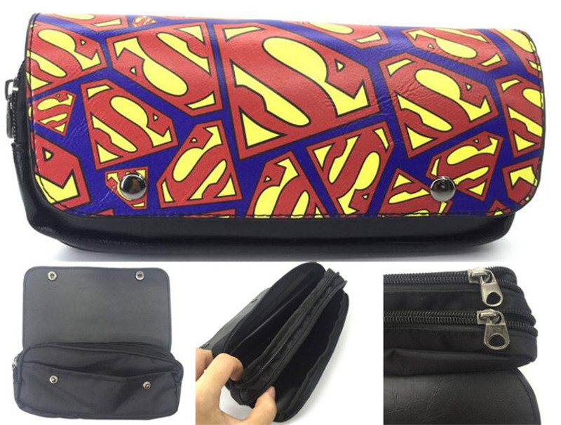 Justice League Superman Printed Pencil Case Button Zippers Pen Bag Stationery Bags Pouch Make Up School Office Supplies 1PC