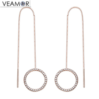 VEAMOR Rose Gold Color Pave CZ Circle Ear Line Long Drop Earrings Real 925 Sterling Silver