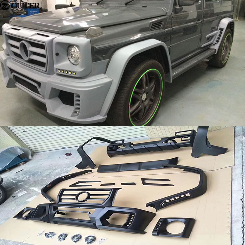 W463 G Class FRP car body kit Front bumper rear diffuser Round eyebrows for Mercedes Benz G55 WALD style 08-14