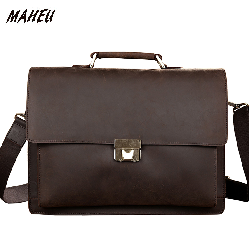 Men vintage genuine leather briefcase 14 Laptop cow leather bag code lock flap real leather business bag Brown double laye tote multifunctional genuine leather cowhide dark coffee men briefcase tote back pack business bag fit 15 laptop pr577026q 1