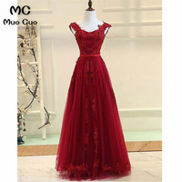 2018 Elegant Burgundy A Line Prom Dresses Long with Lace Appliques Floor Length Formal Evening Party Dress for Women