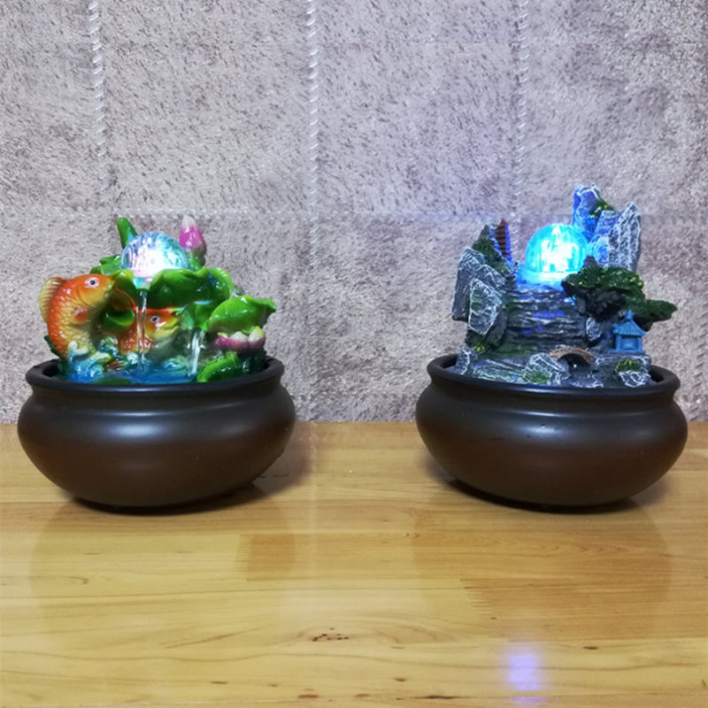 European Rockery Water Fountain Desktop Chinese Fengshui Ornaments RGB Lamp Indoor Air Humidifier Home Office Club