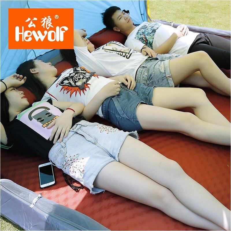 HEWOLF al aire libre 5 cm de espesor inflable automático cojín al aire libre tienda de campaña de doble inflable colchón de la cama 2 colores - 2