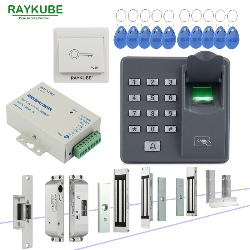 RAYKUBE Door Access Control System With Biometric Fingerprint Reader Electronic Lock RFID Security Door Lock Kit