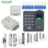 RAYKUBE Door Access Control System With Biometric Fingerprint Reader Electronic Lock RFID Security Door Lock Kit