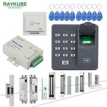 Système de contrôle daccès de porte RAYKUBE avec lecteur biométrique dempreintes digitales serrure électronique Kit de serrure de porte de sécurité RFID