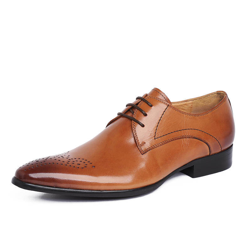 High Quality Men Oxfords British Style Carved Genuine Leather Brogue Lace-Up Pointed Toe Bullock Business Men's Flats Shoes bullock men s oxfords shoes 2016 spring autumn british carved leisure shoes fashion retro pointed toe brogue shoes for men