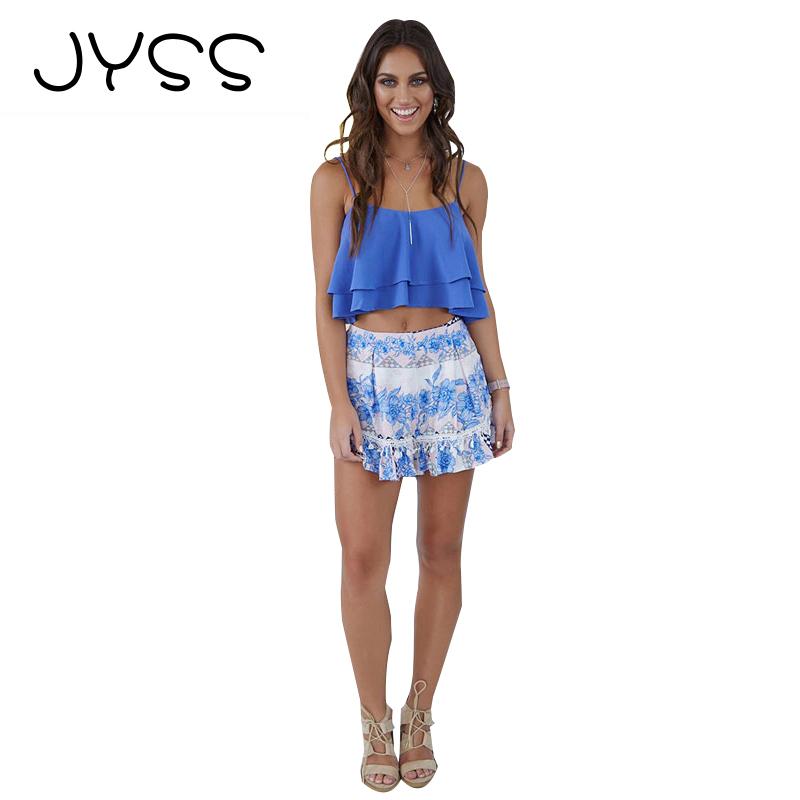 JYSS New Summer Fashion crop tops font b women b font 2017 Chiffon Sleeveless suspender Layered