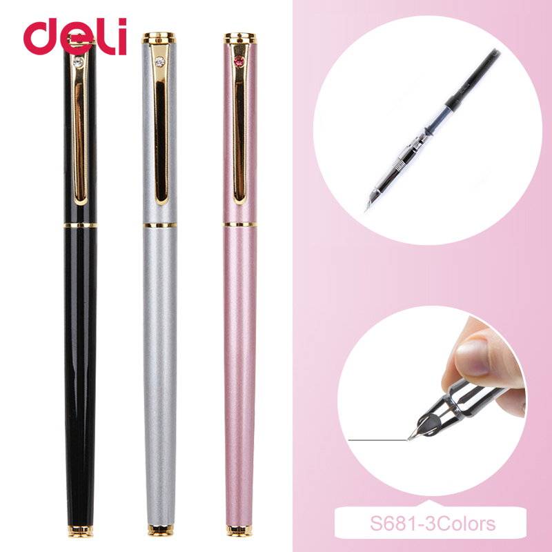 Deli 2018 Metal Fountain Pen School & Office Supplies Stationery Elegant Pens For Writing School High Quality Ink Fountain Pen