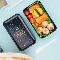 Fiambrera de doble capa de 1200ml con cuchara, caja Bento de Material saludable a prueba de fugas, contenedor de almacenamiento de alimentos para microondas, fiambrera