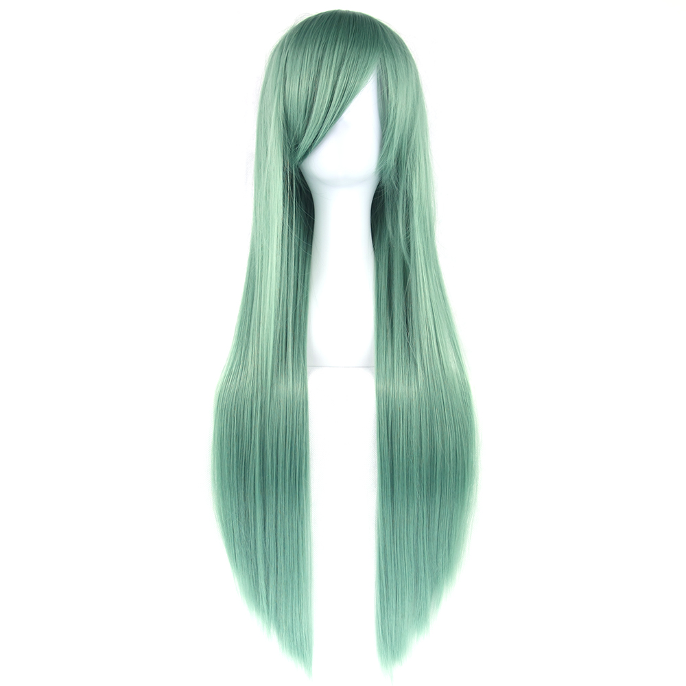 Soowee 24 Colors 80cm Long Straight Wigs Green Black Party Hair Accessories Synthetic Hair Cosplay Wig For Women