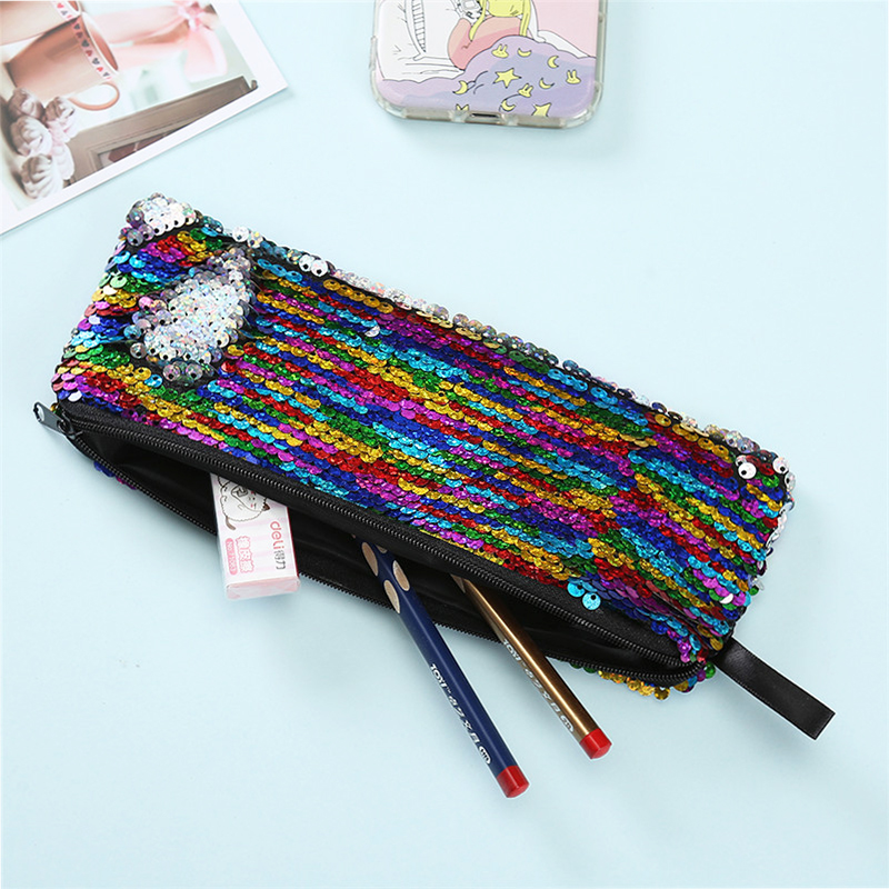 Mermaid Sequins Women Makeup Pouch Cute Pencil Case For Student Zipper Clutch Handbag Reversible Beading Cosmetic Storage Bag