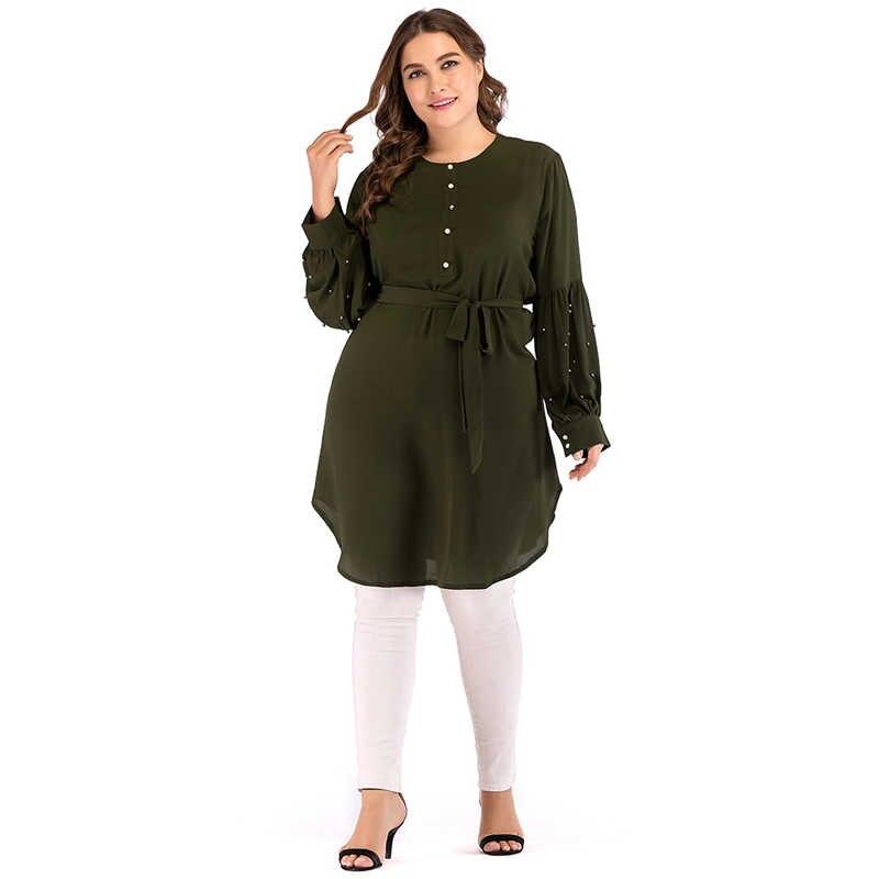 00d3084f13 ... 5XL 2019 Abaya Kaftan Dubai Qatar UAE Turkish Islamic Women Chiffon Long  Sleeve Top Arabic Muslim ...