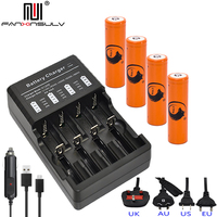 4x 3.7v 18650 battery Lithium Rechargeable Battery+ 18650 LCD Multi four Charger 16340 14500 CR123A Charger Flashlight batteries
