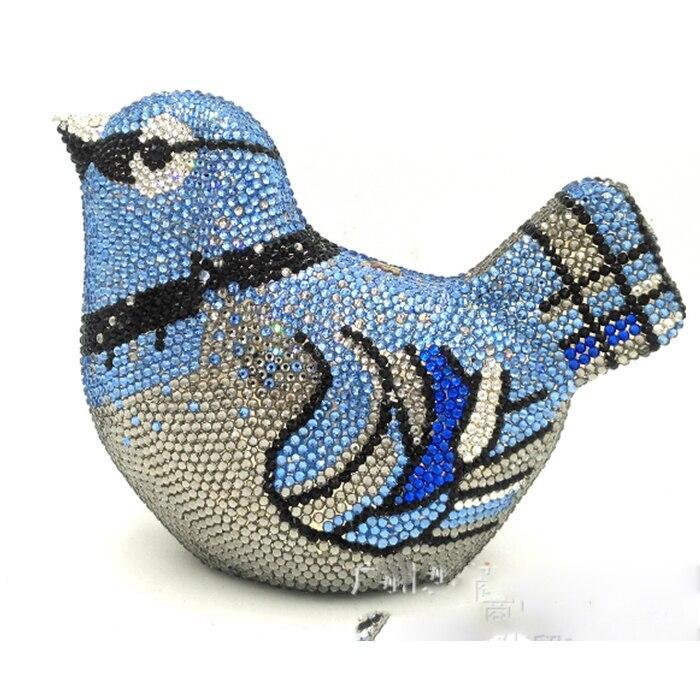 Для женщин Игристые прозрачного хрусталя Для женщин вечерняя Свадебная Коктейльная Сумочка птица клатч Hardcase металлической коробке ЛЮКС це