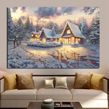 цена на Thomas Kinkade Christmas Lodge Canvas Painting Prints Living Room Home Decoration Modern Wall Art Oil Painting Posters Pictures