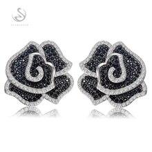 Eulonvan Роскошные винтажные обручальные свадебные серьги для женщин серебро 925 серебряный, черный и белый кубический цирконий S-3790