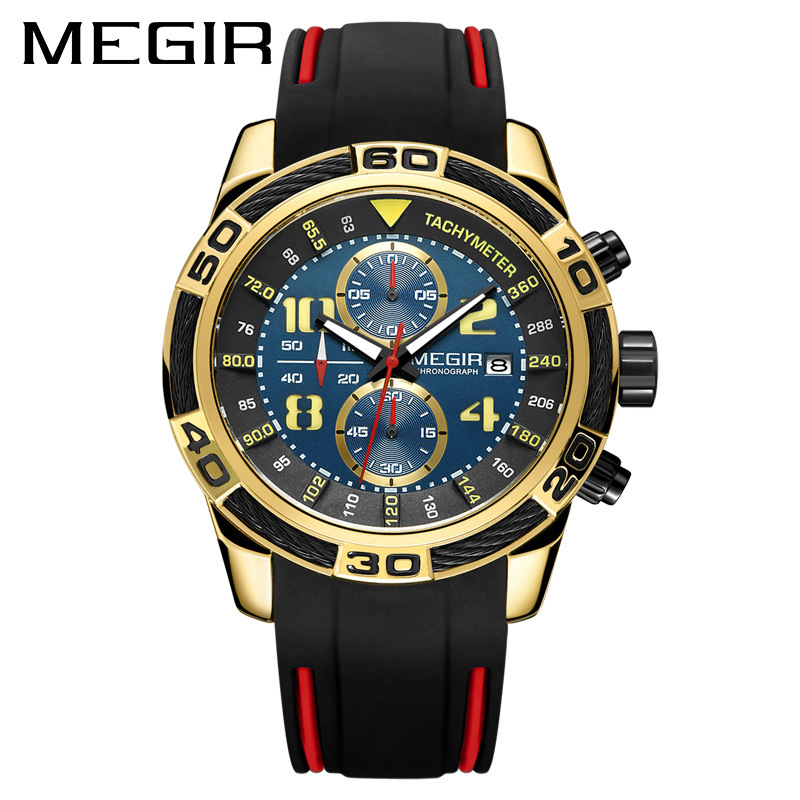 Men Chronograph Army Military Wrist Watches MEGIR Sport Quartz Watch Black Red Silicone Band Analog Luminous Hands Clock for Man eache silicone watch band strap replacement watch band can fit for swatch 17mm 19mm men women