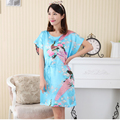 New Arrival Blue Ladies Summer Rayon Robe Bath Gown Chinese Style Print Sleepshirt Sexy Flower Nightgown Dress One Size NR007