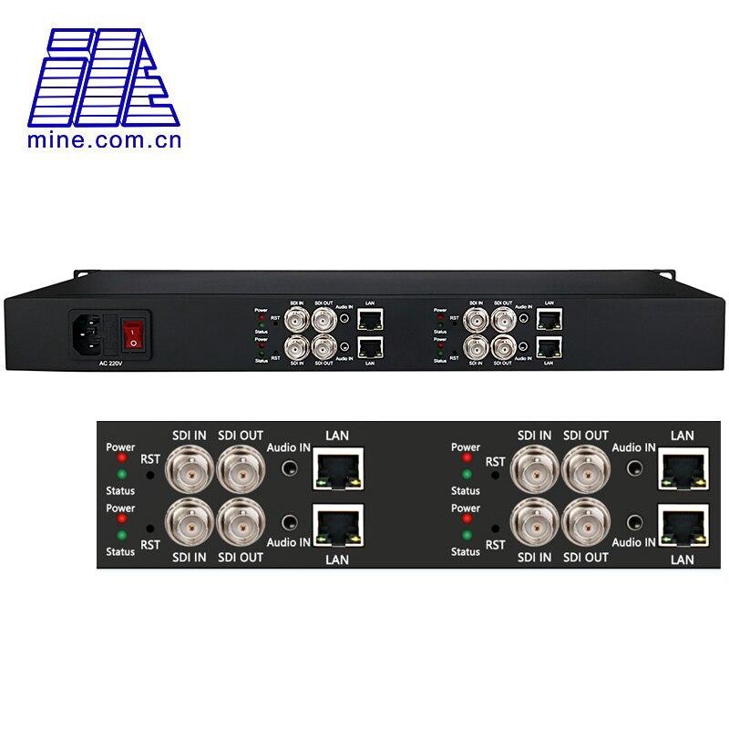 4 канала SDI в кодер с IP выходом H.265/H.264 HD-SDI 3G-SDI декодер потокового вещания для прямой трансляции