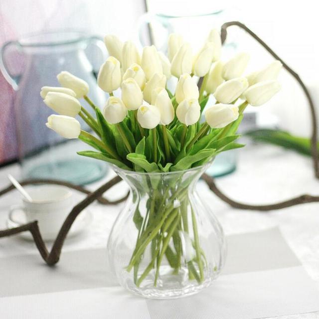 10 Sztukpartia Pu Mini Wesele Dekoracje Sztuczne Tulipany Kwiaty
