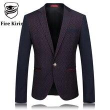 Fire Kirin Blazer Men 2017 Slim Fit Mens Polka Dot Blazer Luxury Brand Men's Casual Blazers Fashion Designs Terno Masculino Q240