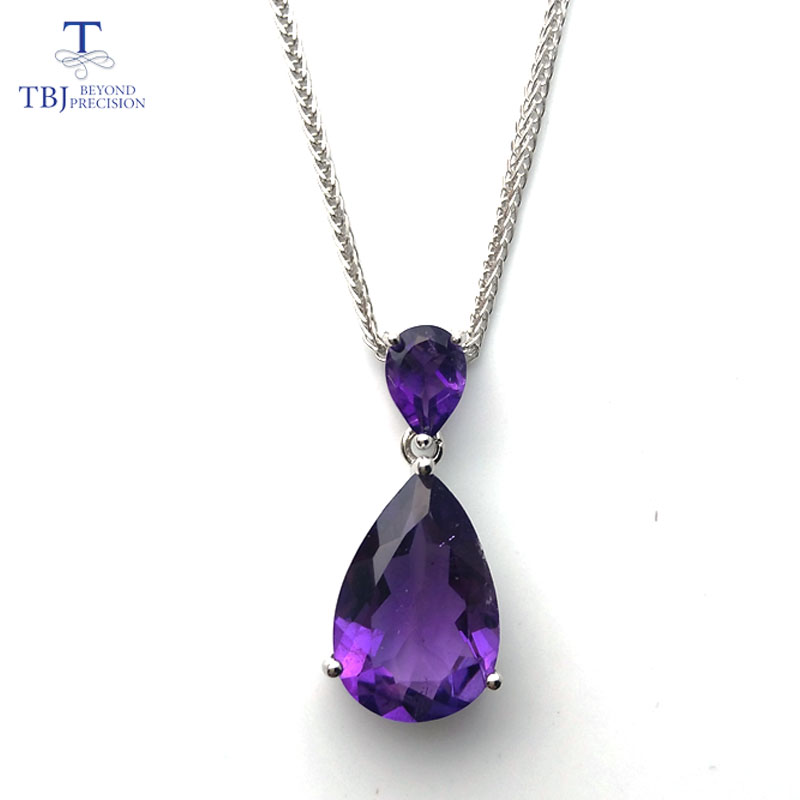 TBJ ,2017 new natural african amethyst gemstone Pendant with chain necklace in 925 sterling silver fine jewelry with gift boxTBJ ,2017 new natural african amethyst gemstone Pendant with chain necklace in 925 sterling silver fine jewelry with gift box