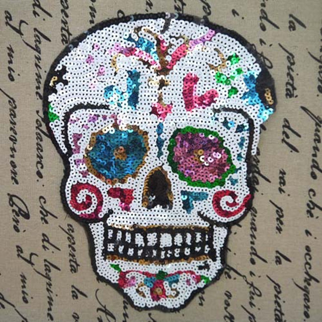 Skull Embroidered iron on patches for clothes design sequins deal with it clothing DIY Motif Applique Free shipping   Category: