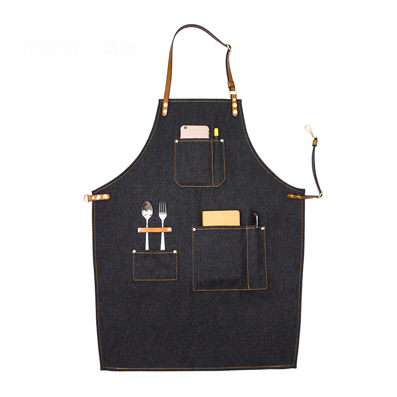 Cozinha que Cozinha o Avental com Ajustável Cinta de Algodão Denim Grandes Bolsos Azul Homens e Mulheres Homewear Barista - 6