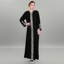 אופנה נשים מוסלמי שמלה סקסי פיצול העבאיה טורקית שמלה בתוספת גודל 5XL טלאים שחור חיג אב שמלת חלוק Musulmane