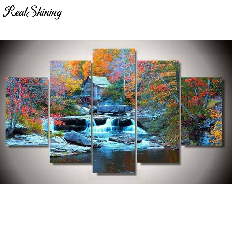 REALSHINING 5pcs New Waterfall Trees 5D DIY Diamond Painting Cross Stitch Full Square 3D Diamond Painting