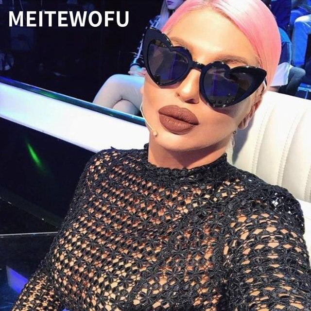 MEITEWOFU gafas de sol mujer marca diseñador de ojo de gato gafas de sol Retro amor en forma de corazón de gafas damas de los hombres gafas UV400