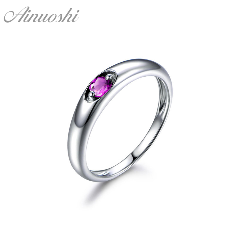 AINUOSHI Natural Amethyst Ring 0.25ct Round Cut 925 Sterling Silver Solitaire Ring Trendy Engagement Wedding Jewelry Women Ring