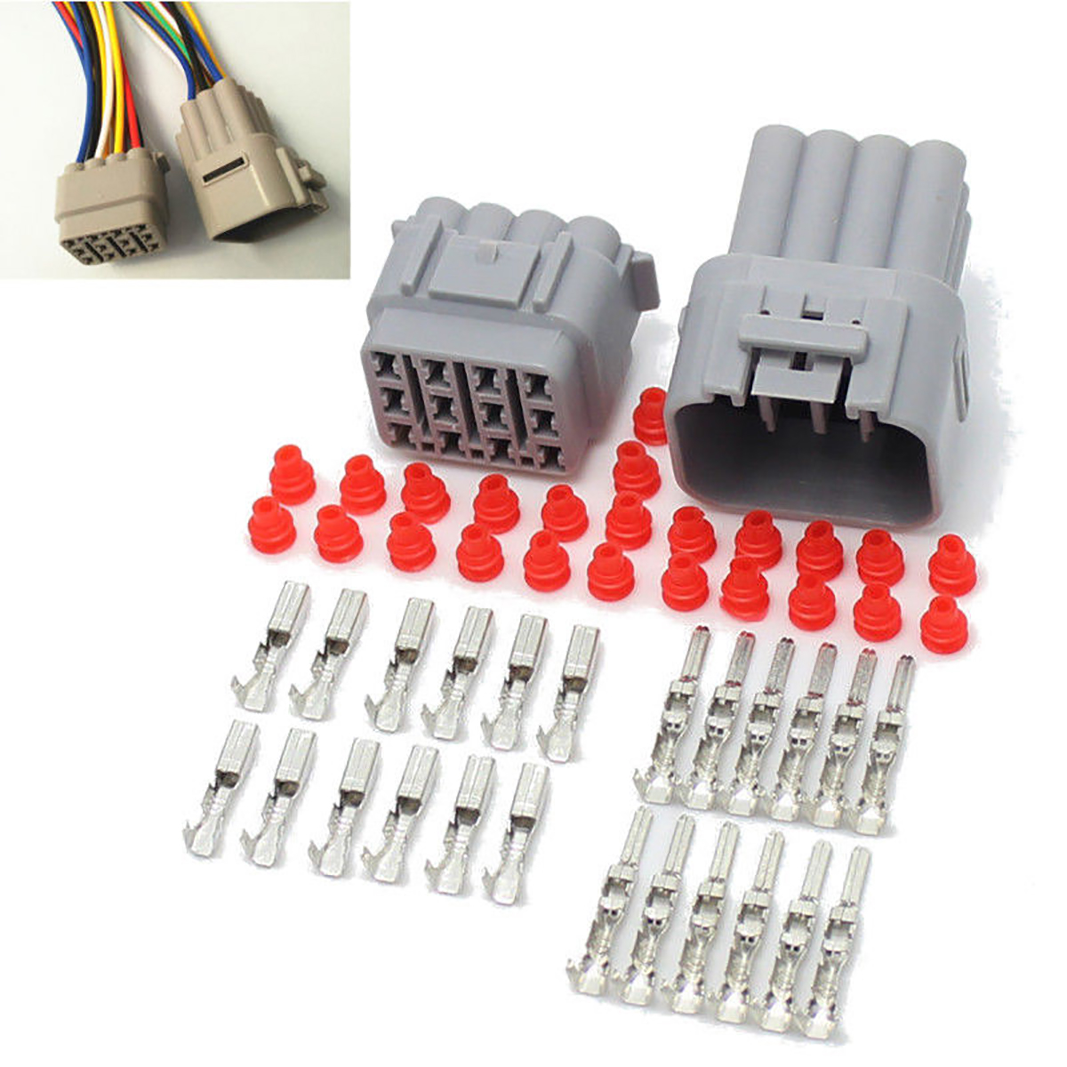 1 Set DJ712Y-2.3 Waterproof Electrical Wire Connector Plug 12 Pin Way Sealed For Auto Car 10kit 282088 1 282106 1 ip67 4pin way super sealed waterproof electrical wire connector auto plug for car caravan marine jet