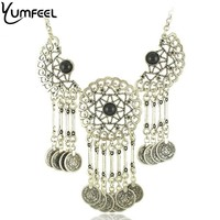 Hot Gypsy Bohemian Beach Chic Statement Tassel Necklace Boho Festival Vintage Silver Coin EthnicTurkish India Tribal