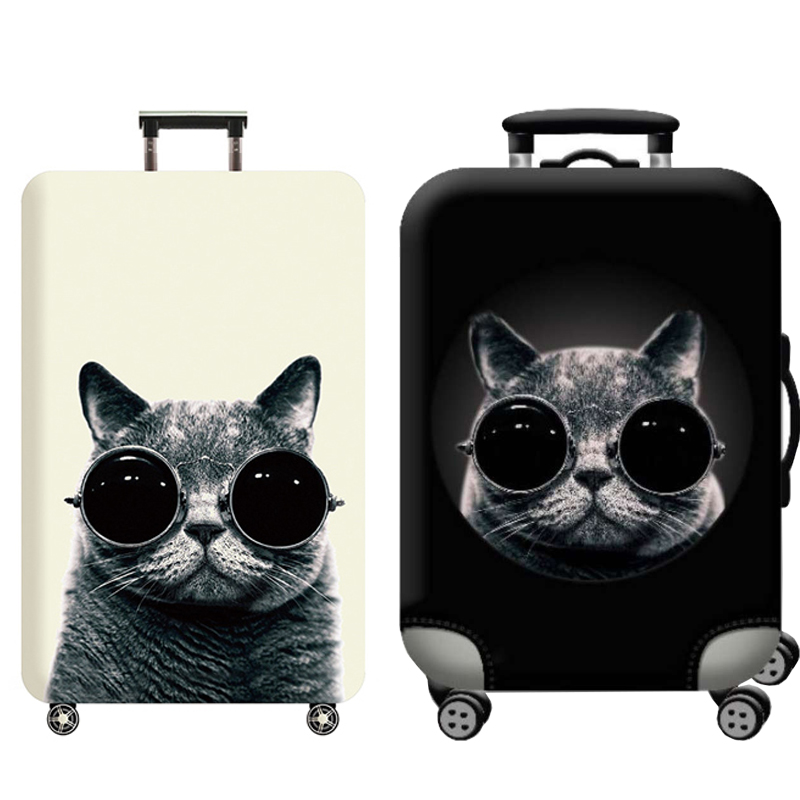 Travel Accessories Luggage Cover Suitcase Protection Baggage Dust Cover Trunk Set Trolley Case Elasticity Glasses Cat Pattern
