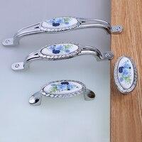 128mm Fashion rural blue flower ceramic kitchen cabinet wardrobe door handles silver chrome drawer tv cabinet cupboard knob pull