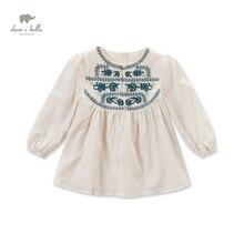DK0429 дэйв белла осень новорожденных девочек вышивка блузки девушки абрикос национальный этническом стиле футболки гирс топ