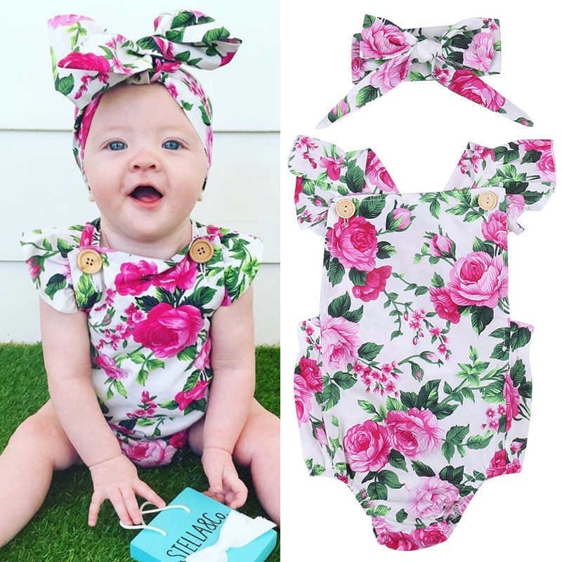 Newborn-Infant-Baby-Girls-Clothes-square-collar-sleeveless-Bodysuit-Floral-print-Bowknot-Headband-2PC-cotton-casual-Outfit-1
