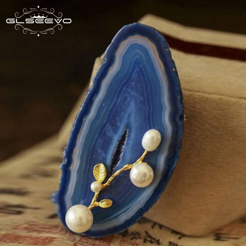 GLSEEVO Handmade Luxury Natural Agate Fresh Water Pearl Brooches For Women Gift Brooch Pins Pendant Dual Use Jewelry GO0039 все цены