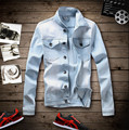 2015 New Spring Mens Denim Jacket Coat Distressed Acid Washed Casual Jackets Vintage Jeans Jacket veste jeans M-5XL