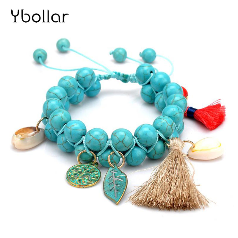 BOHO Women Turquoises Bracelets Two Layers Charms Handmade Braided Tassel Leaf Tree Pendant Bangle Jewelry Gift