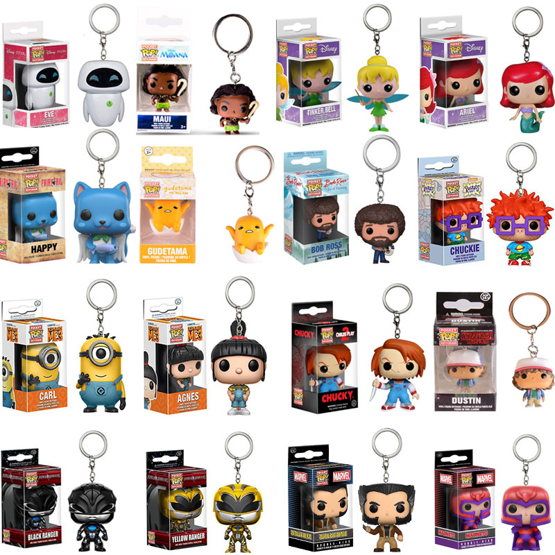 Funko POP Disney Alice Cheshire Ariel Fairy Tail Stitch IT Pennywise Pikachu TINKER BELL Keychain Action Figure Toys With Box