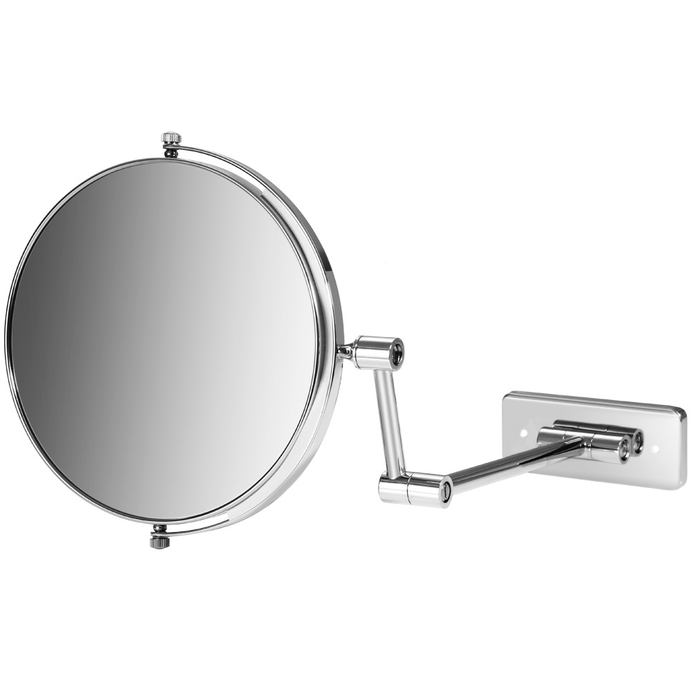 Wall mounted makeup mirror square 3x in wall mirrors - 8 Inch Swivel Wall Mounted Mirror Extending Folding Makeup Mirror Double Side Bath Mirror Chrome Copper