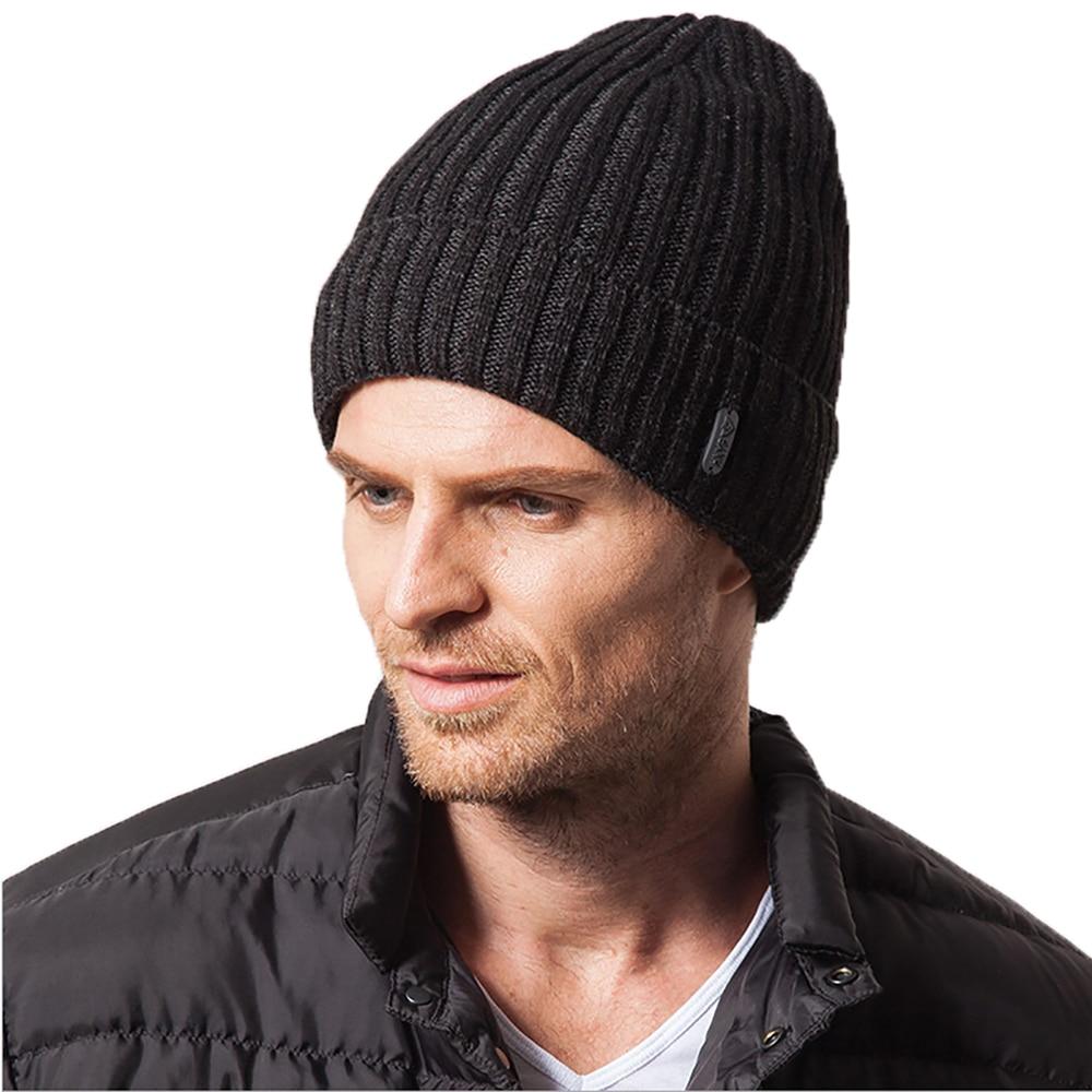 Adofeeno New Winter Hats for Men Hat Skullies Beanies with Velvet Inside Knitted Gorros skullies