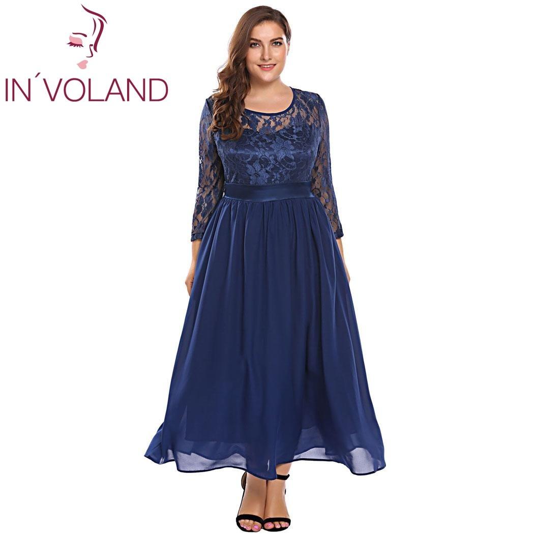 IN'VOLAND Women Vintage Lace Dress Plus Size XL-5XL Autumn Hollow Floral Lace 3/4 Sleeve Party Swing Maxi Large Dresses Big Size